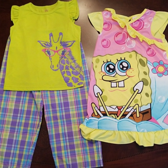 e479c99115 Carter s Other - Girls Spongebob nightgown and giraffe pjs